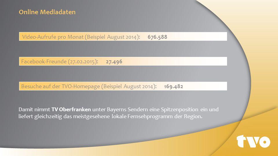 Damit nimmt TV Oberfranken unter Bayerns Sendern eine Spitzenposition ein und liefert gleichzeitig das meistgesehene lokale Fernsehprogramm der Region