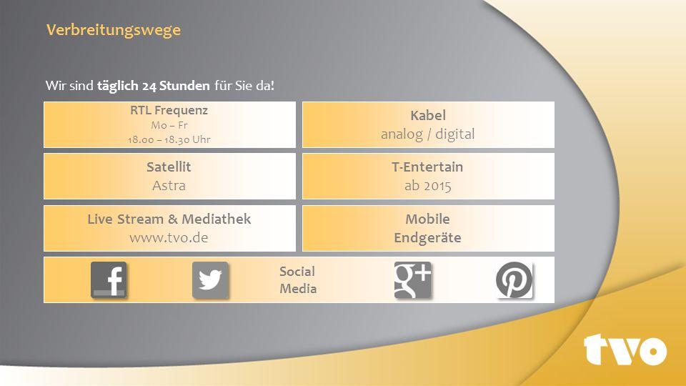 Wir sind täglich 24 Stunden für Sie da! Mobile Endgeräte Live Stream & Mediathek www.tvo.de T-Entertain ab 2015 Satellit Astra Kabel analog / digital