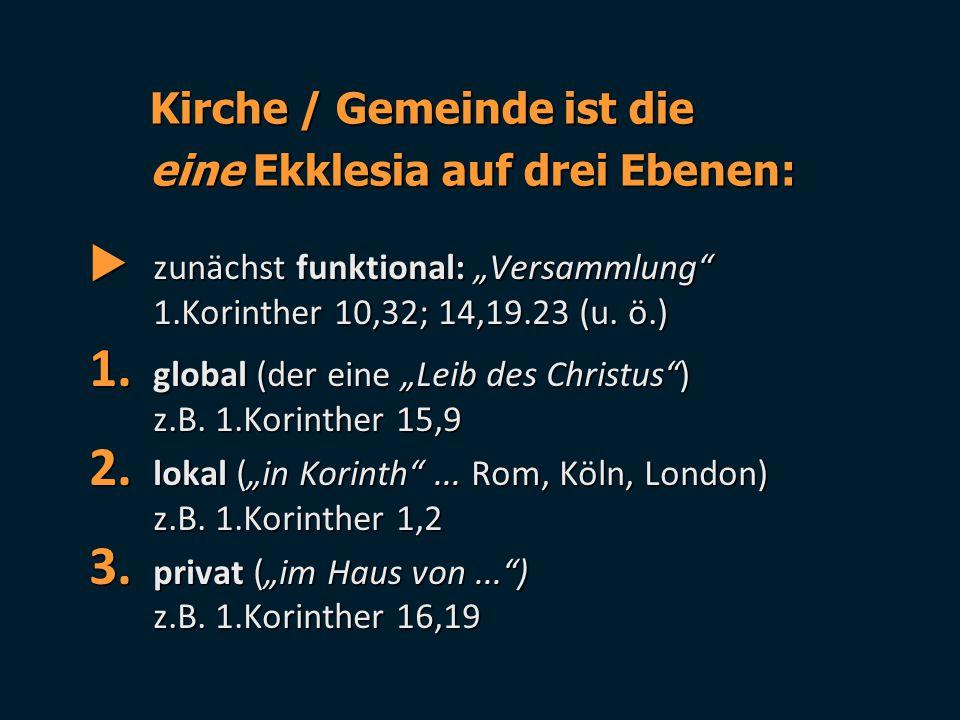 """ zunächst funktional: """"Versammlung"""" 1.Korinther 10,32; 14,19.23 (u. ö.) 1. global (der eine """"Leib des Christus"""") z.B. 1.Korinther 15,9 2. lokal (""""in"""