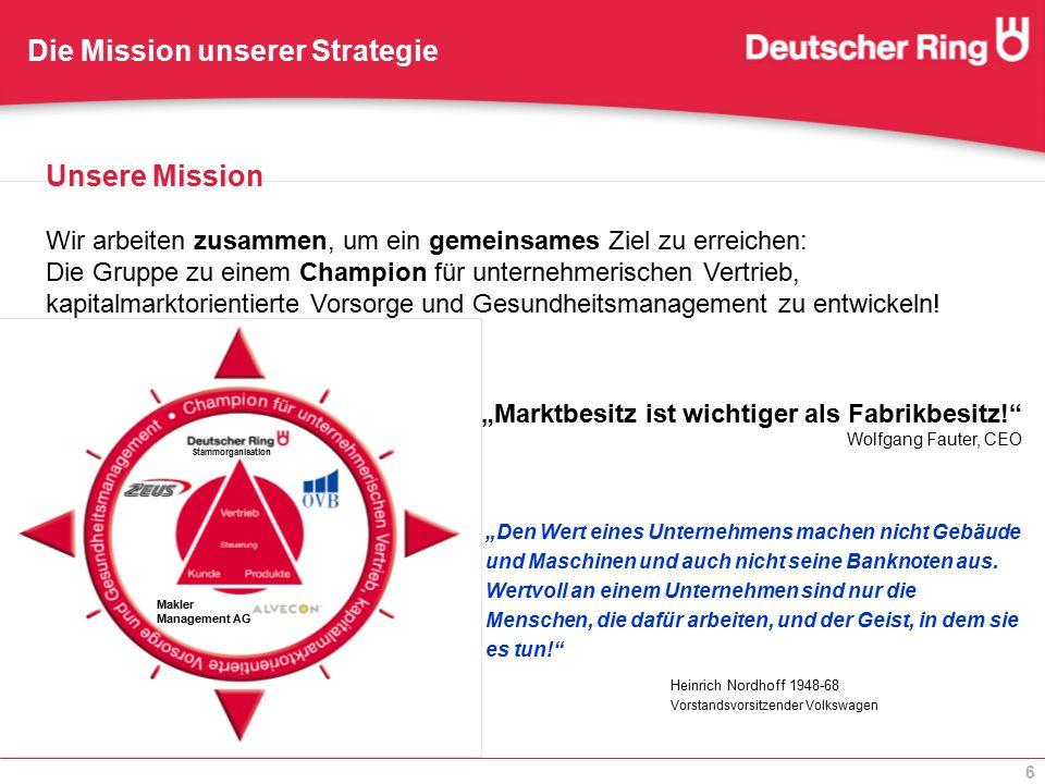 6 Unsere Mission Wir arbeiten zusammen, um ein gemeinsames Ziel zu erreichen: Die Gruppe zu einem Champion für unternehmerischen Vertrieb, kapitalmark