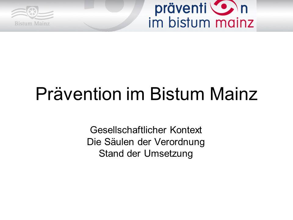 Prävention im Bistum Mainz Gesellschaftlicher Kontext Die Säulen der Verordnung Stand der Umsetzung