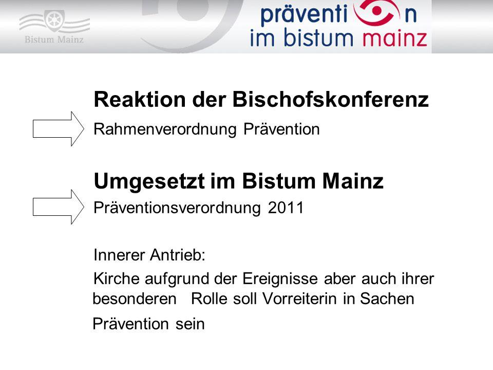 Reaktion der Bischofskonferenz Rahmenverordnung Prävention Umgesetzt im Bistum Mainz Präventionsverordnung 2011 Innerer Antrieb: Kirche aufgrund der E