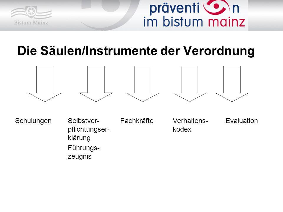 Die Säulen/Instrumente der Verordnung SchulungenSelbstver- pflichtungser- klärung Führungs- zeugnis FachkräfteVerhaltens- kodex Evaluation