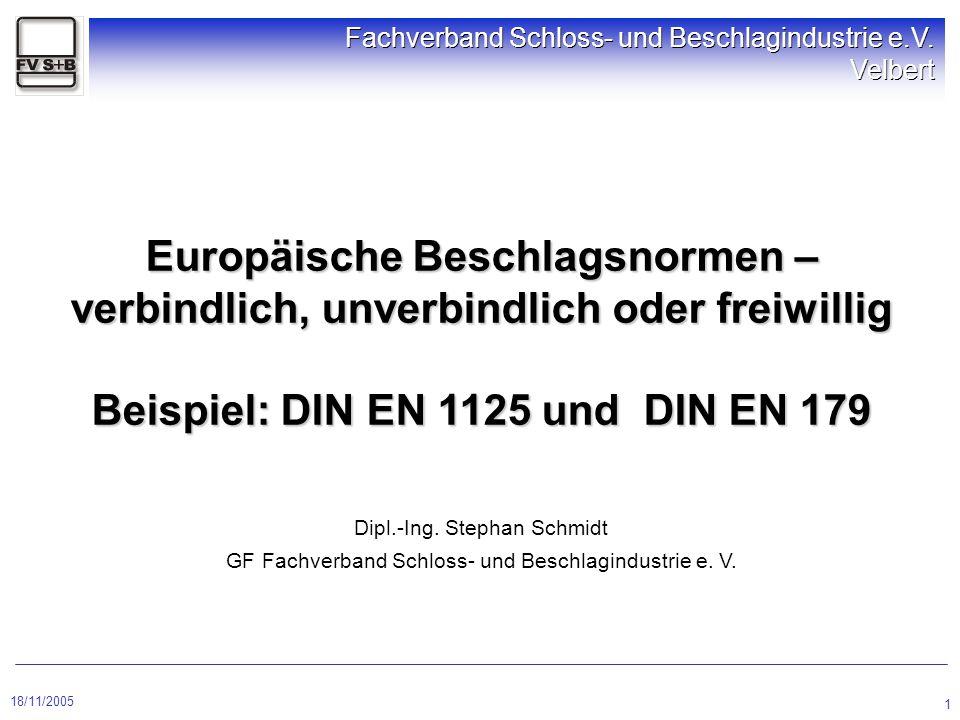 18/11/2005 Fachverband Schloss- und Beschlagindustrie e.V. Velbert 1 Europäische Beschlagsnormen – verbindlich, unverbindlich oder freiwillig Beispiel