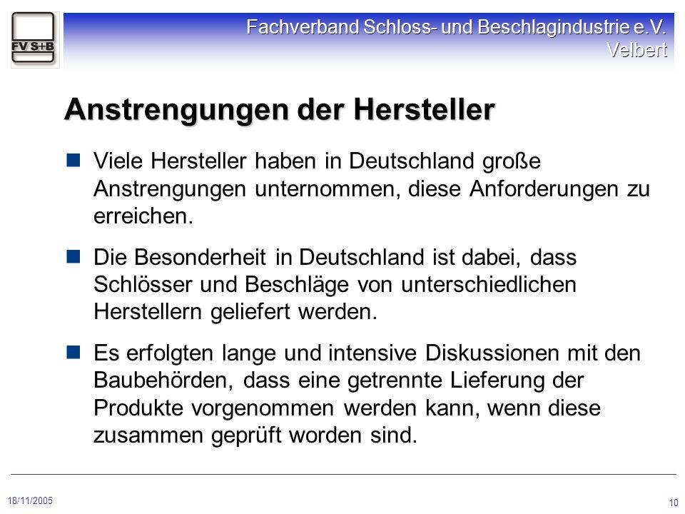 18/11/2005 Fachverband Schloss- und Beschlagindustrie e.V. Velbert 10 Viele Hersteller haben in Deutschland große Anstrengungen unternommen, diese Anf