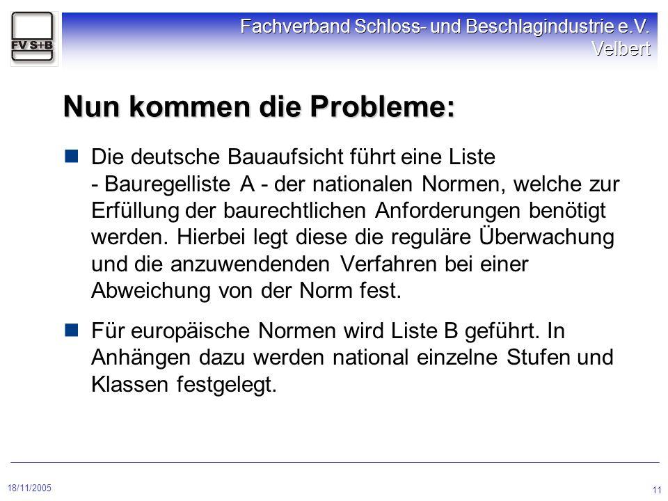 18/11/2005 Fachverband Schloss- und Beschlagindustrie e.V. Velbert 11 Nun kommen die Probleme: Die deutsche Bauaufsicht führt eine Liste - Bauregellis