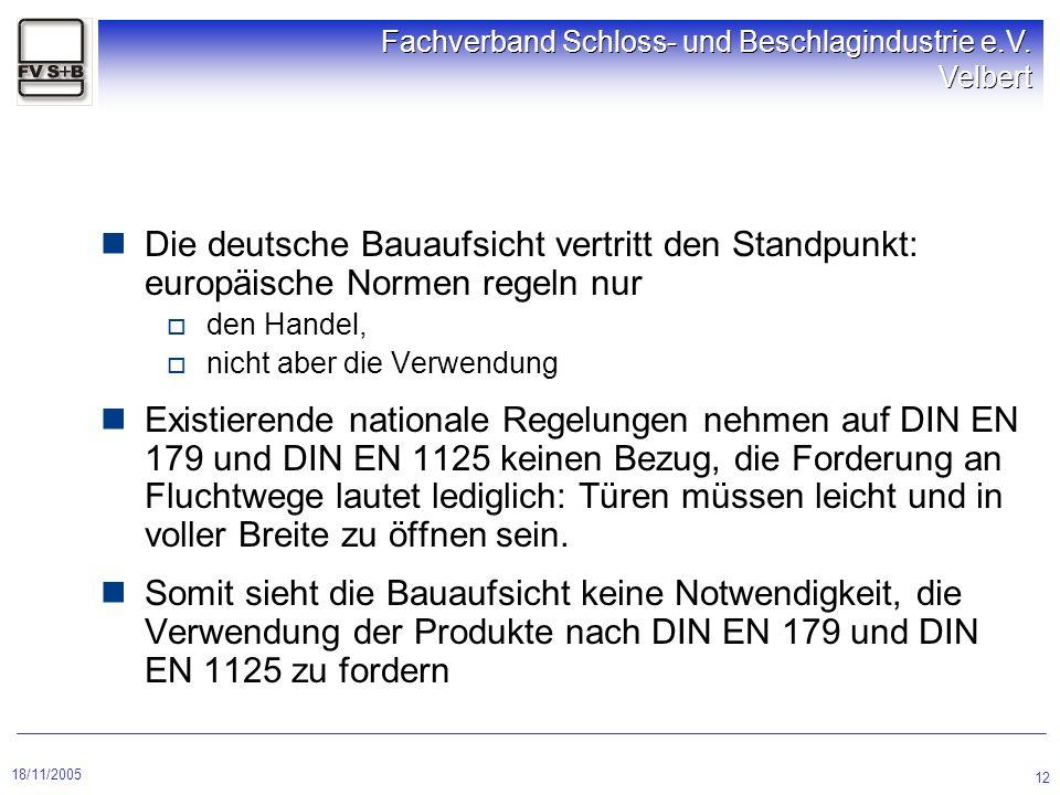 18/11/2005 Fachverband Schloss- und Beschlagindustrie e.V. Velbert 12 Die deutsche Bauaufsicht vertritt den Standpunkt: europäische Normen regeln nur