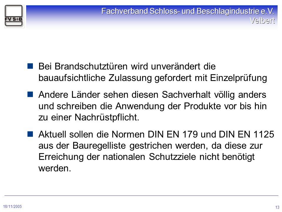 18/11/2005 Fachverband Schloss- und Beschlagindustrie e.V. Velbert 13 Bei Brandschutztüren wird unverändert die bauaufsichtliche Zulassung gefordert m