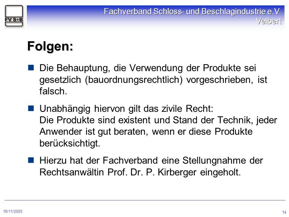 18/11/2005 Fachverband Schloss- und Beschlagindustrie e.V. Velbert 14 Folgen: Die Behauptung, die Verwendung der Produkte sei gesetzlich (bauordnungsr