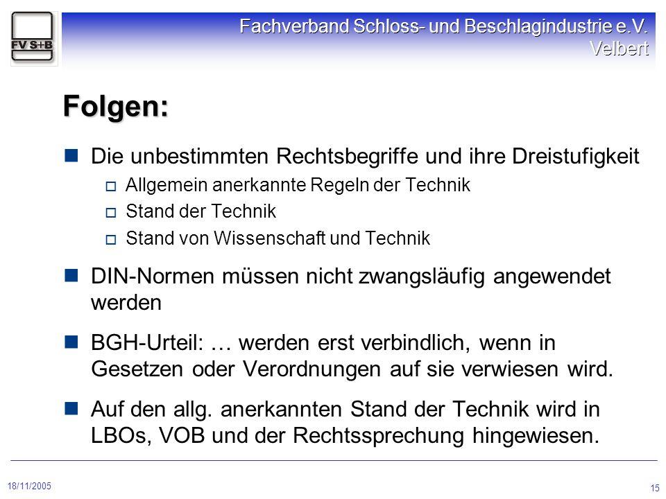 18/11/2005 Fachverband Schloss- und Beschlagindustrie e.V. Velbert 15 Folgen: Die unbestimmten Rechtsbegriffe und ihre Dreistufigkeit  Allgemein aner
