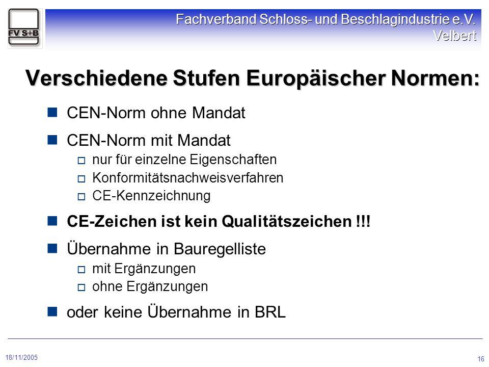 18/11/2005 Fachverband Schloss- und Beschlagindustrie e.V. Velbert 16 CEN-Norm ohne Mandat CEN-Norm mit Mandat  nur für einzelne Eigenschaften  Konf