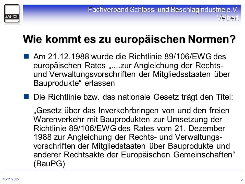 18/11/2005 Fachverband Schloss- und Beschlagindustrie e.V. Velbert 2 Wie kommt es zu europäischen Normen? Am 21.12.1988 wurde die Richtlinie 89/106/EW