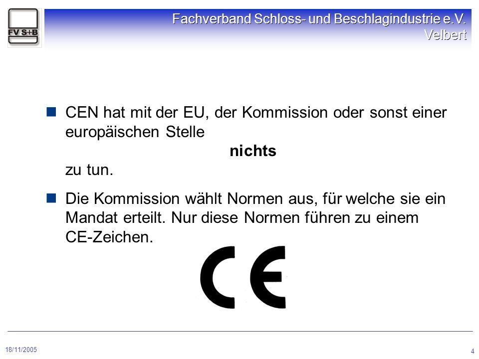 18/11/2005 Fachverband Schloss- und Beschlagindustrie e.V. Velbert 4 CEN hat mit der EU, der Kommission oder sonst einer europäischen Stelle nichts zu