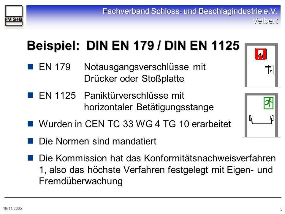 18/11/2005 Fachverband Schloss- und Beschlagindustrie e.V. Velbert 5 Beispiel: DIN EN 179 / DIN EN 1125 EN 179Notausgangsverschlüsse mit Drücker oder