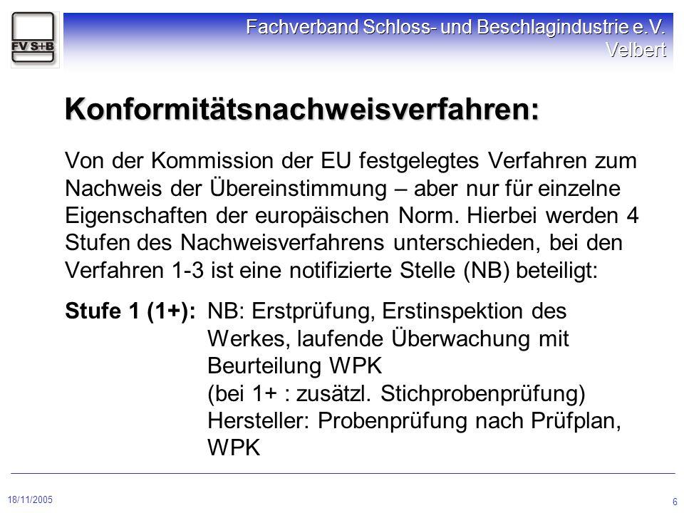 18/11/2005 Fachverband Schloss- und Beschlagindustrie e.V. Velbert 6 Konformitätsnachweisverfahren: Von der Kommission der EU festgelegtes Verfahren z