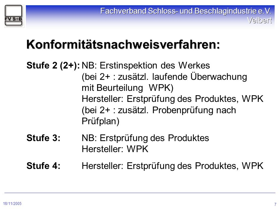 18/11/2005 Fachverband Schloss- und Beschlagindustrie e.V. Velbert 7 Konformitätsnachweisverfahren: Stufe 2 (2+):NB: Erstinspektion des Werkes (bei 2+