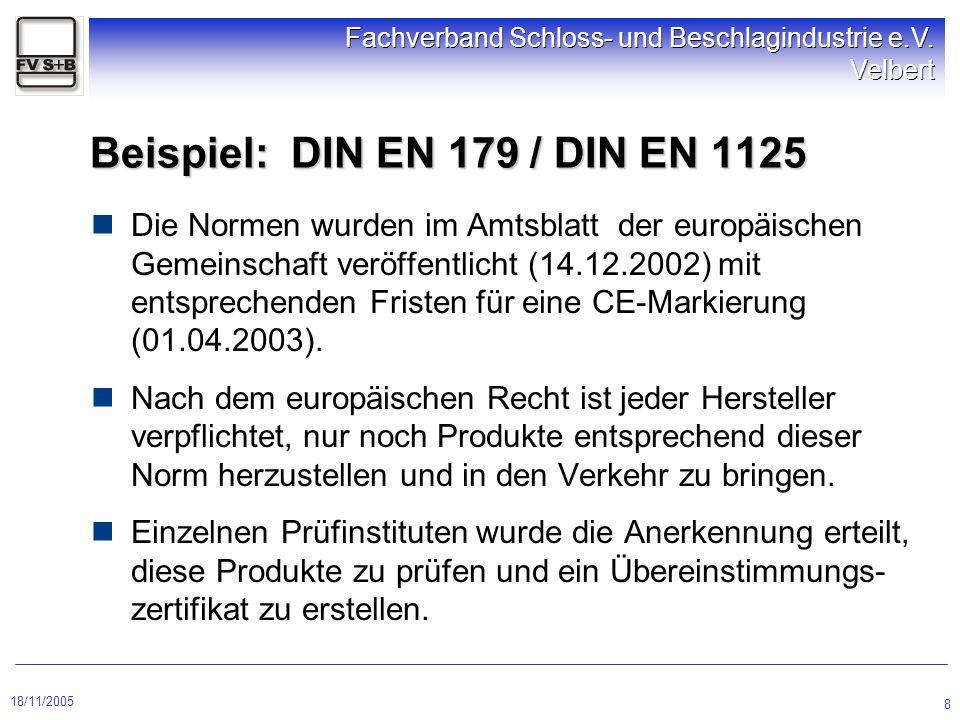 18/11/2005 Fachverband Schloss- und Beschlagindustrie e.V. Velbert 8 Beispiel: DIN EN 179 / DIN EN 1125 Die Normen wurden im Amtsblatt der europäische