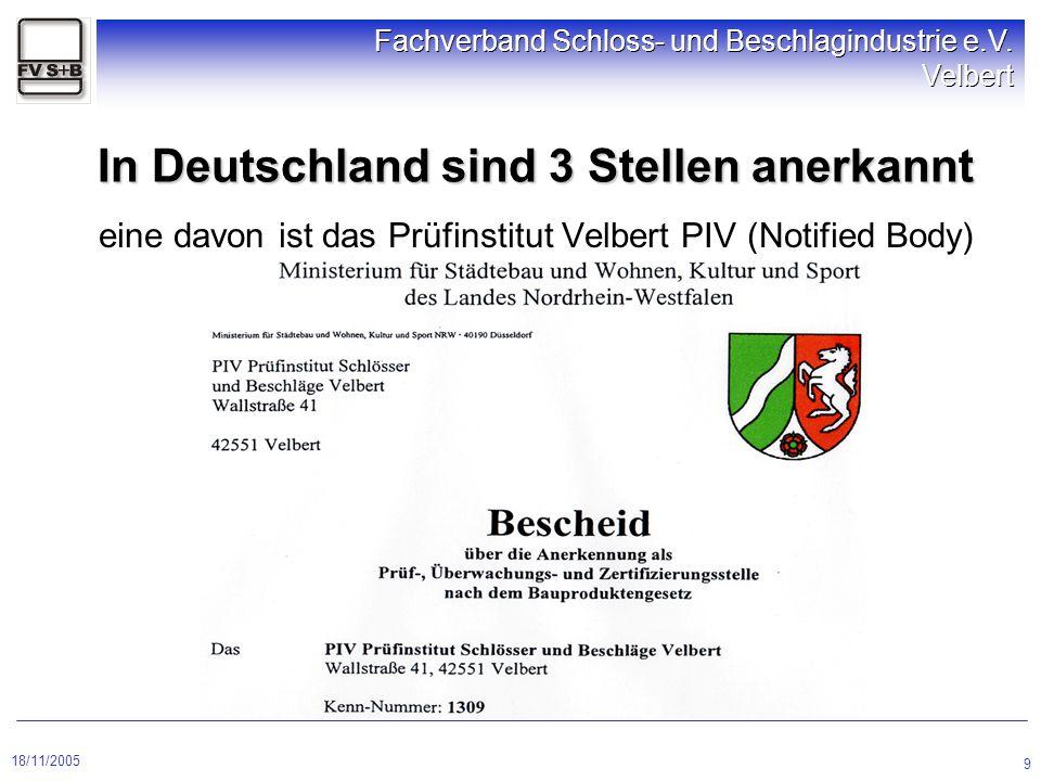 18/11/2005 Fachverband Schloss- und Beschlagindustrie e.V. Velbert 9 eine davon ist das Prüfinstitut Velbert PIV (Notified Body) In Deutschland sind 3