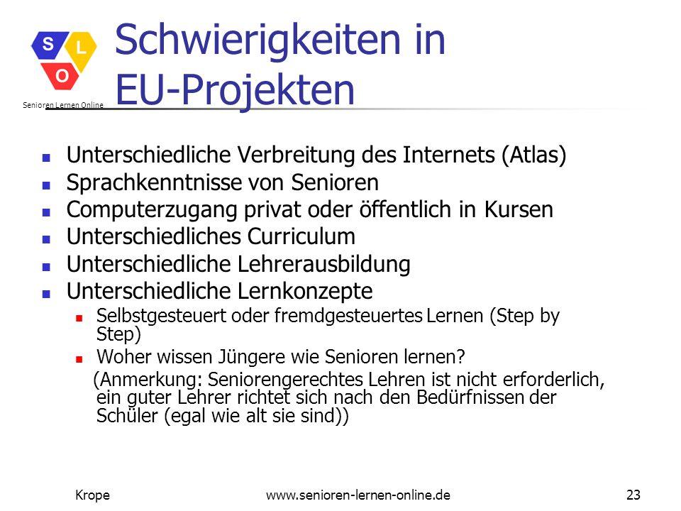 Senioren Lernen Online Kropewww.senioren-lernen-online.de23 Schwierigkeiten in EU-Projekten Unterschiedliche Verbreitung des Internets (Atlas) Sprachk