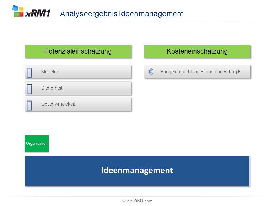 "www.xRM1.com Betrachtungsebene, Z.B. ""Datenmodell"" Analyseergebnis Ideenmanagement Potenzialeinschätzung Kosteneinschätzung Ideenmanagement Budgetempf"