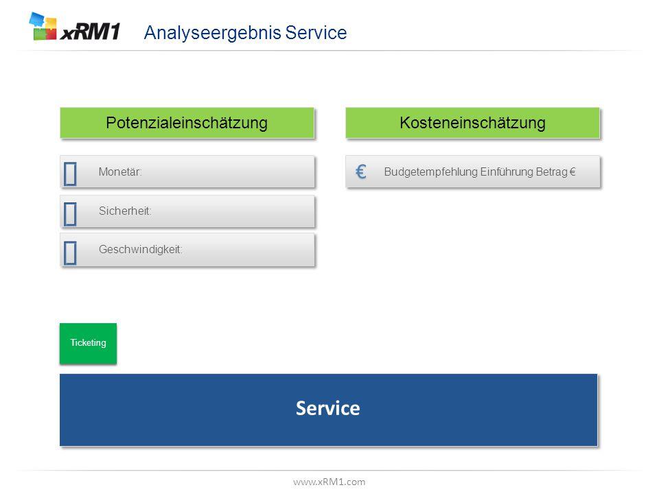 "www.xRM1.com Betrachtungsebene, Z.B. ""Datenmodell"" Analyseergebnis Service Potenzialeinschätzung Kosteneinschätzung Service Ticketing Budgetempfehlung"