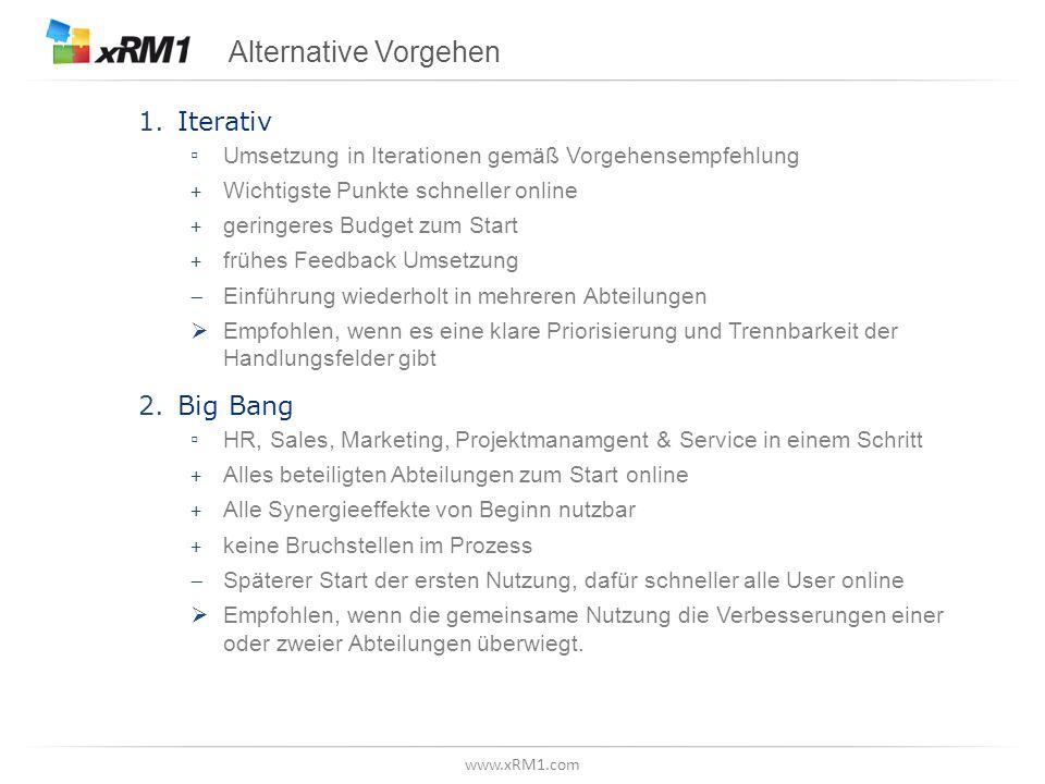 www.xRM1.com Alternative Vorgehen 1.Iterativ ▫ Umsetzung in Iterationen gemäß Vorgehensempfehlung + Wichtigste Punkte schneller online + geringeres Bu