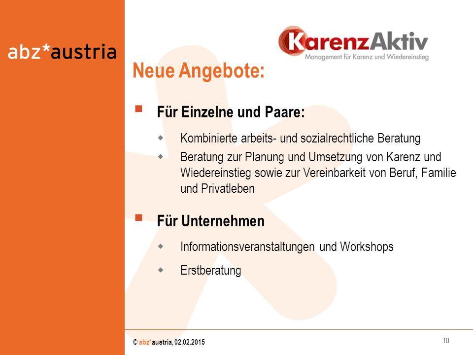 10 © abz*austria, 02.02.2015  Für Einzelne und Paare:  Kombinierte arbeits- und sozialrechtliche Beratung  Beratung zur Planung und Umsetzung von K