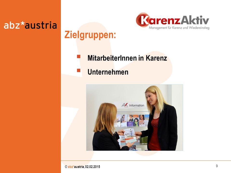 9 © abz*austria, 02.02.2015  MitarbeiterInnen in Karenz  Unternehmen Zielgruppen: