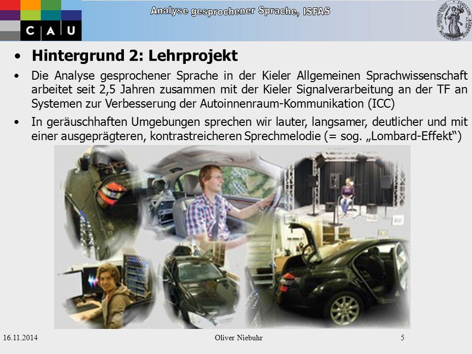 16.11.2014Oliver Niebuhr4 Hintergrund 1: Sprechmelodie Doch wo beginnen und Enden melodische Wörter.