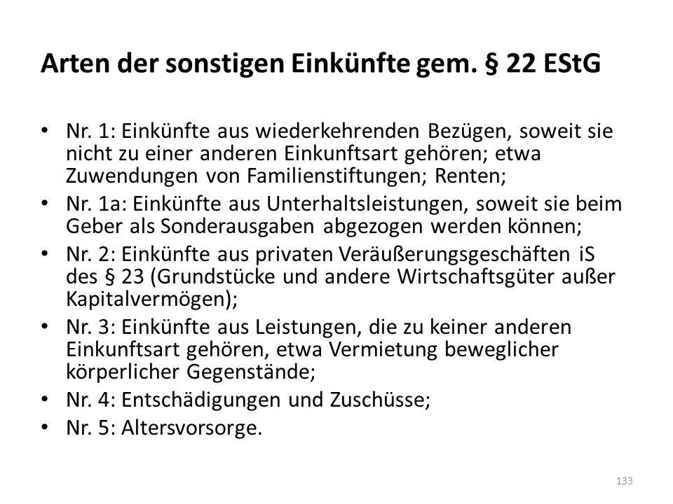 Arten der sonstigen Einkünfte gem. § 22 EStG Nr. 1: Einkünfte aus wiederkehrenden Bezügen, soweit sie nicht zu einer anderen Einkunftsart gehören; etw