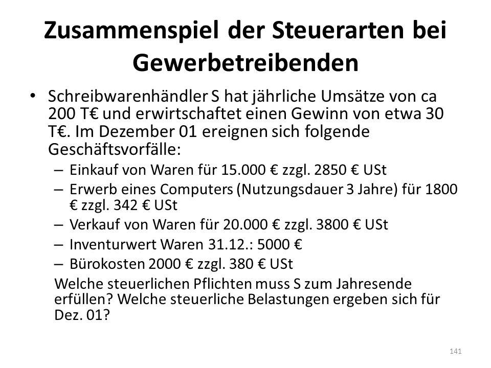 Zusammenspiel der Steuerarten bei Gewerbetreibenden Schreibwarenhändler S hat jährliche Umsätze von ca 200 T€ und erwirtschaftet einen Gewinn von etwa