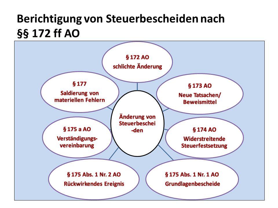 Berichtigung von Steuerbescheiden nach §§ 172 ff AO 33