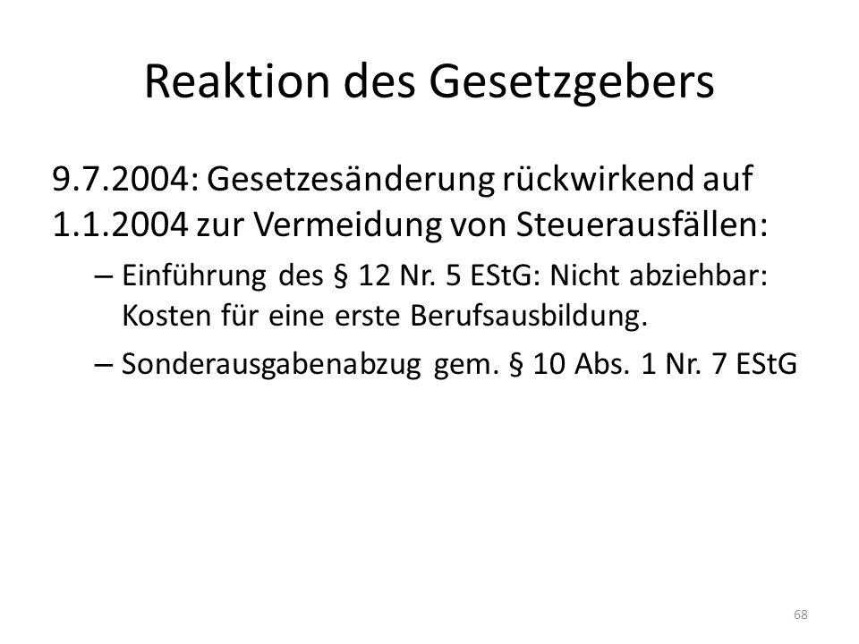 Reaktion des Gesetzgebers 9.7.2004: Gesetzesänderung rückwirkend auf 1.1.2004 zur Vermeidung von Steuerausfällen: – Einführung des § 12 Nr. 5 EStG: Ni