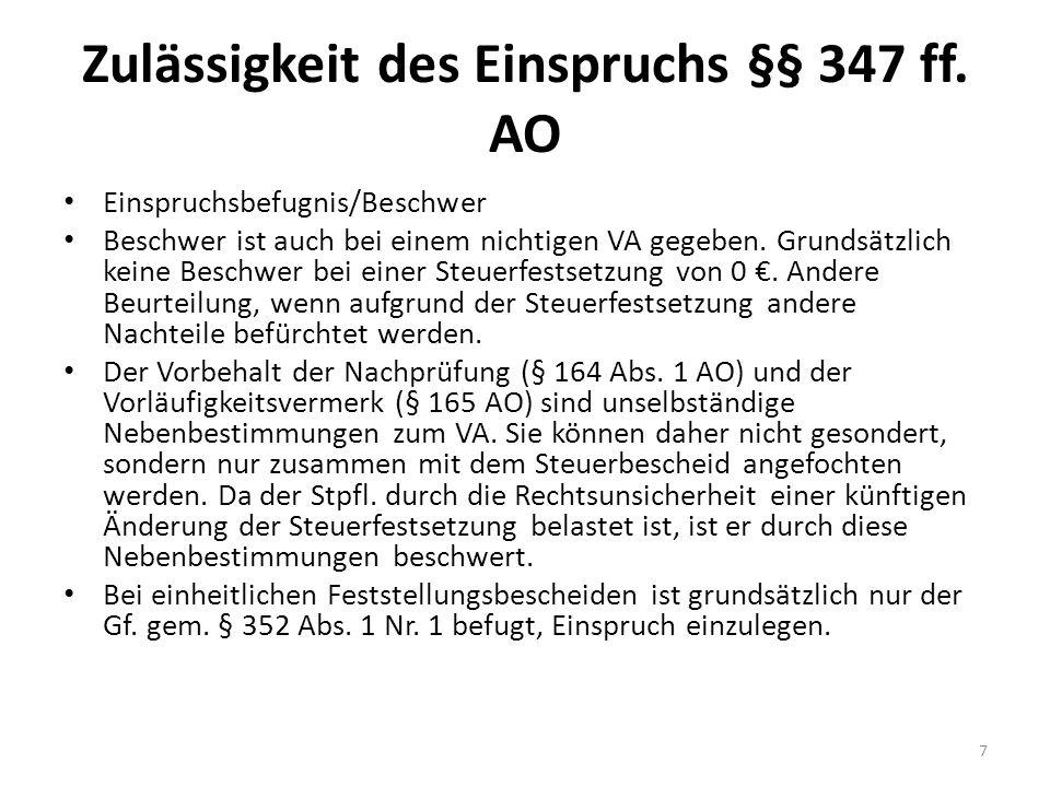 Lösungshinweise ESt 7 Begründetheit des Einspruchs Tätigkeit im Rahmen der Prozessvertretung: Katalogtätigkeit iS des § 18 Abs.