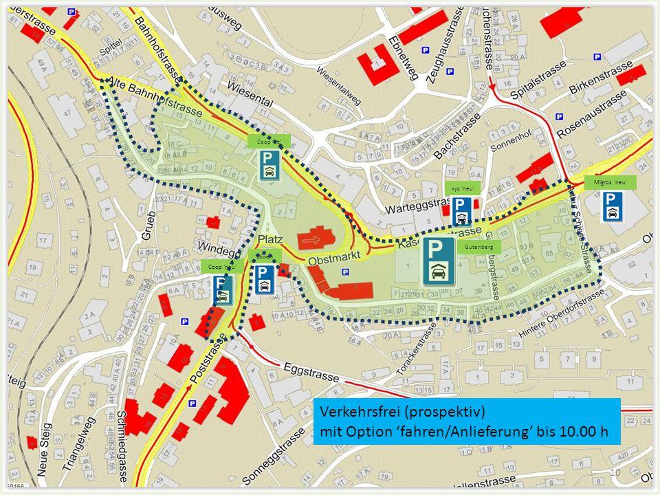Verkehrsfrei (prospektiv) mit Option 'fahren/Anlieferung' bis 10.00 h Coop 'alt' Coop 'neu' Löwen xyz 'neu' Gutenberg Migros 'neu' 10