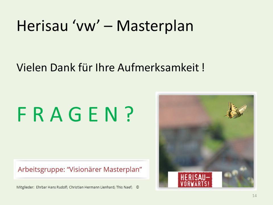 Herisau 'vw' – Masterplan 14 Vielen Dank für Ihre Aufmerksamkeit .