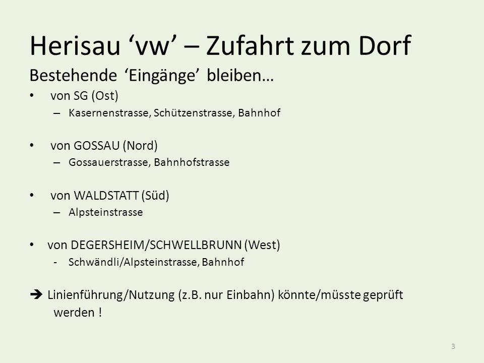 Herisau 'vw' – Zufahrt zum Dorf Bestehende 'Eingänge' bleiben… von SG (Ost) – Kasernenstrasse, Schützenstrasse, Bahnhof von GOSSAU (Nord) – Gossauerstrasse, Bahnhofstrasse von WALDSTATT (Süd) – Alpsteinstrasse von DEGERSHEIM/SCHWELLBRUNN (West) -Schwändli/Alpsteinstrasse, Bahnhof  Linienführung/Nutzung (z.B.