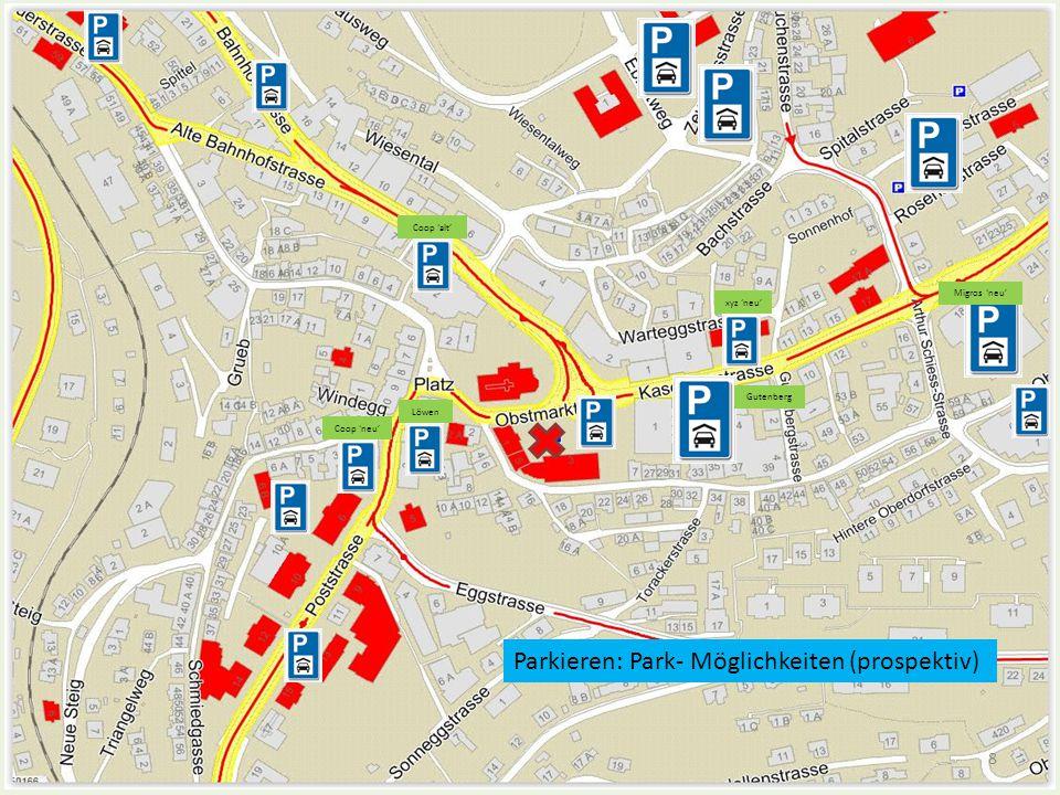 Parkieren (bisherige + neue P-Häuser) Anbindung dieser P-Flächen über die neue Verkehrs- führung (Kreisel) Bisherige (bestehend)Neue (prospektiv) MigrosLöwen-Ueberbauung CoopUeberbauung 'altes Feuerwehr-Haus' Gutenberg-Zentrumalter Polizeiposten (Dürmüller/Ochsli/usw.) Ebnet / MarkthallePoststrasse (neu als Einbahn?) Sandbühlalte Metrohm Werkhof Gossauerstrasse…weitere** Bahnhofwarum nicht auch unter dem Obstmarkt.