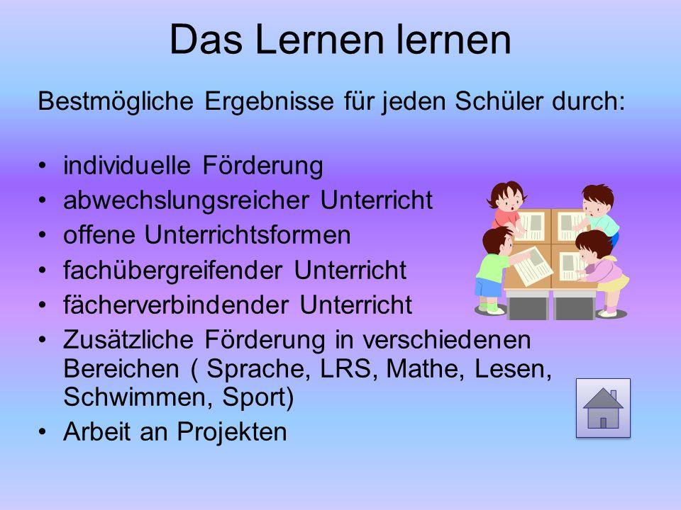 Das Lernen lernen individuelle Förderung abwechslungsreicher Unterricht offene Unterrichtsformen fachübergreifender Unterricht fächerverbindender Unte