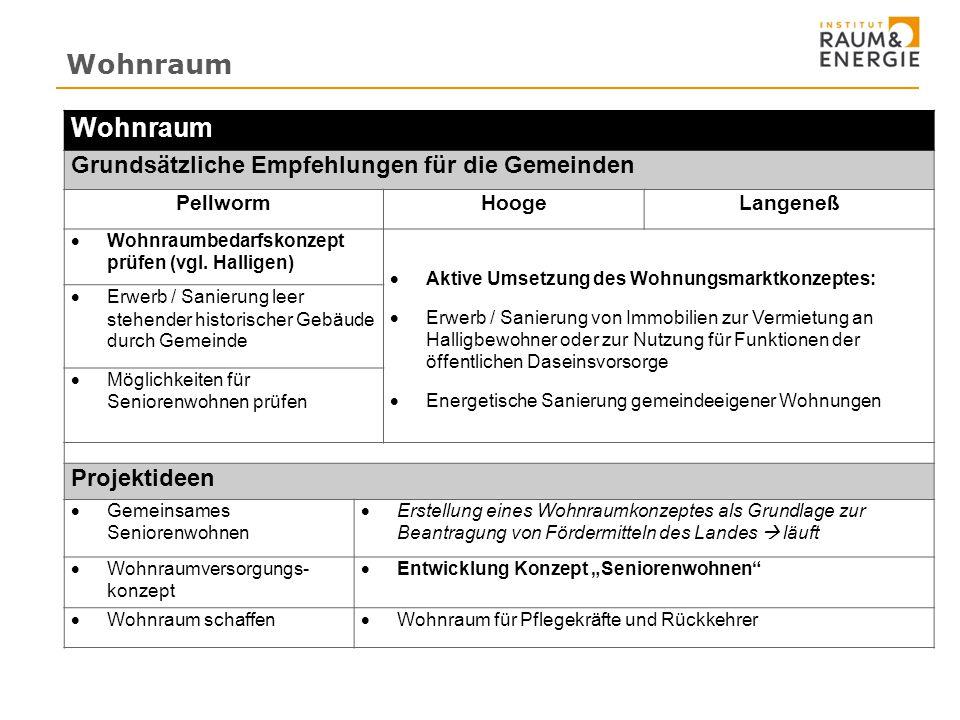 Wohnraum Grundsätzliche Empfehlungen für die Gemeinden PellwormHoogeLangeneß  Wohnraumbedarfskonzept prüfen (vgl.