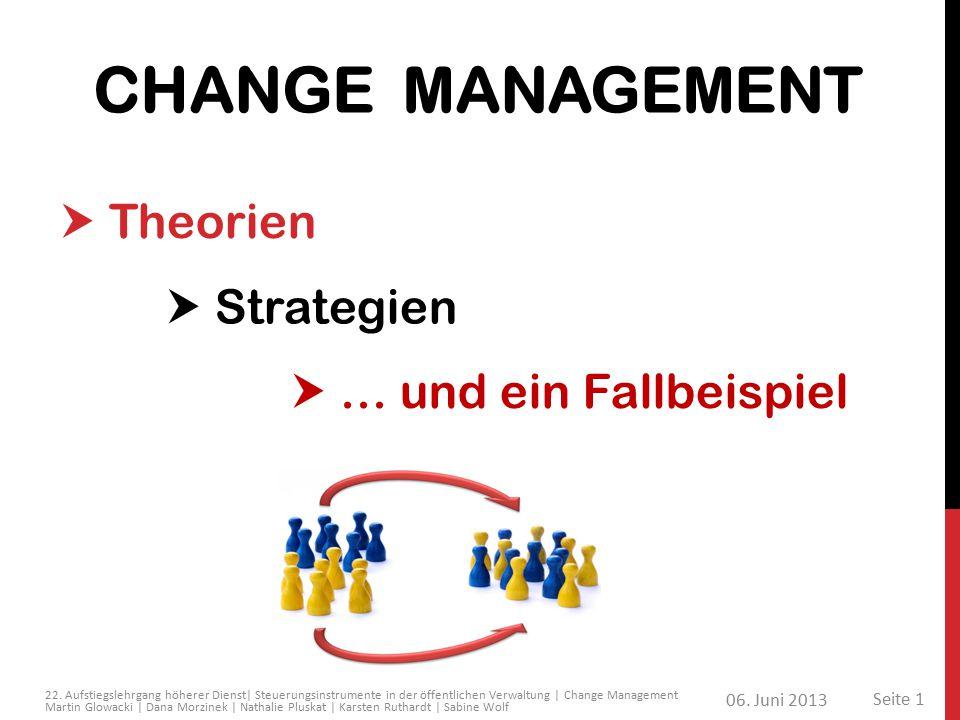 CHANGE MANAGEMENT  Theorien  Strategien  … und ein Fallbeispiel 06. Juni 2013 Seite 1 22. Aufstiegslehrgang höherer Dienst| Steuerungsinstrumente i