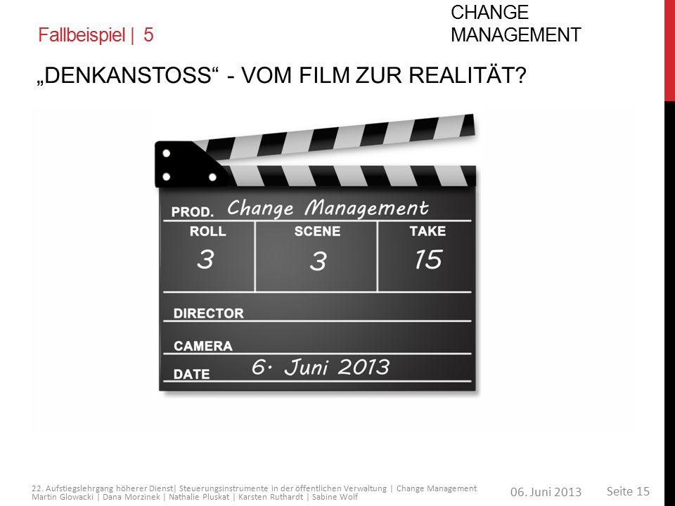 06. Juni 2013 Seite 15 22. Aufstiegslehrgang höherer Dienst| Steuerungsinstrumente in der öffentlichen Verwaltung | Change Management Martin Glowacki