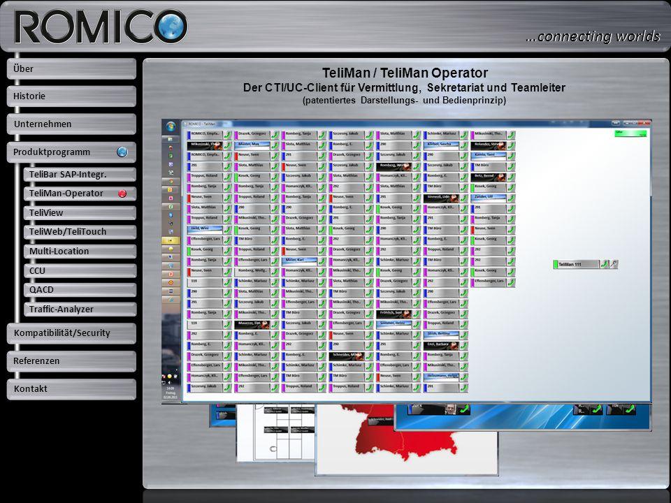 TeliMan / TeliMan Operator Der CTI/UC-Client für Vermittlung, Sekretariat und Teamleiter (patentiertes Darstellungs- und Bedienprinzip) TeliBar SAP-In