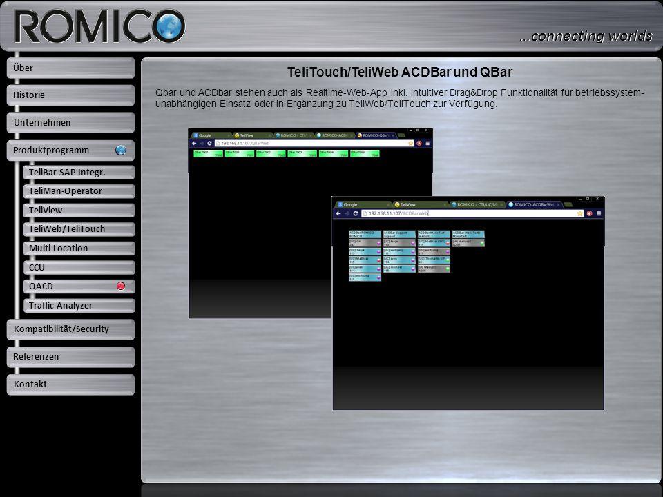 TeliTouch/TeliWeb ACDBar und QBar TeliBar SAP-Integr. TeliMan-Operator TeliView TeliWeb/TeliTouch Multi-Location CCU QACD Traffic-Analyzer Über Untern