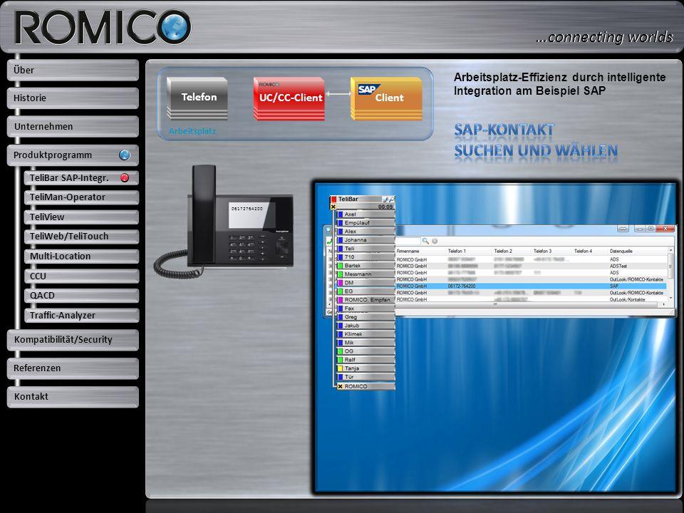 Arbeitsplatz Telefon Client UC/CC-Client Arbeitsplatz-Effizienz durch intelligente Integration am Beispiel SAP 06172764200 TeliBar SAP-Integr. TeliMan