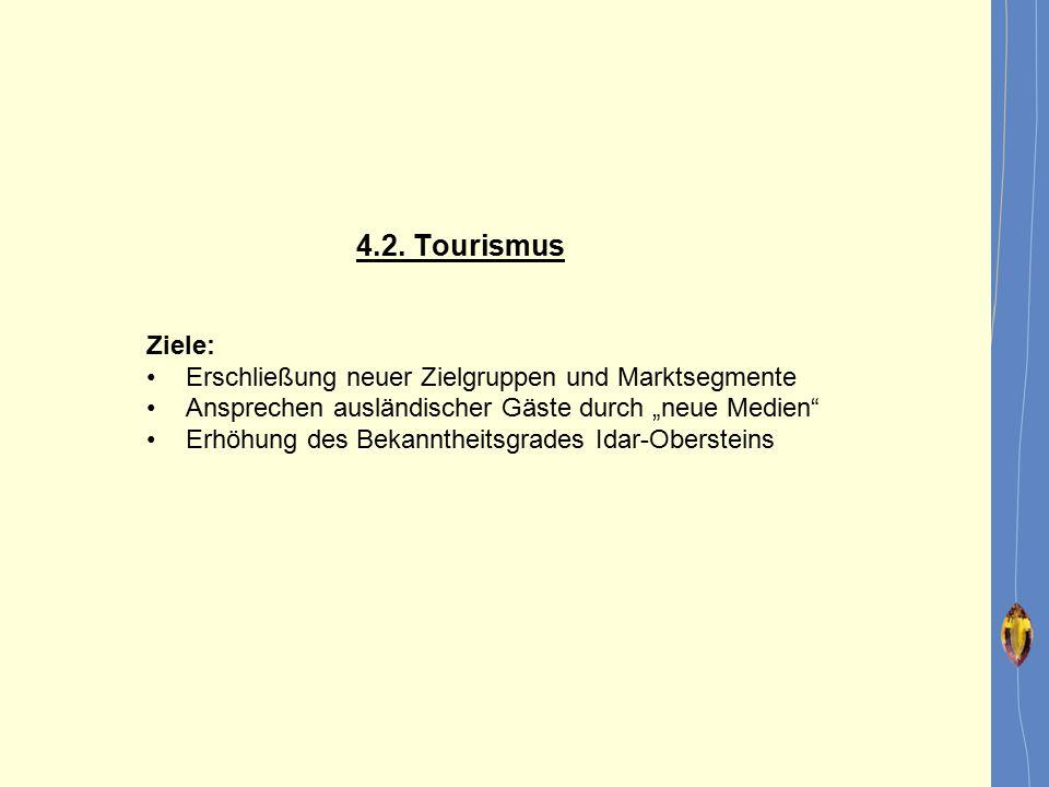 """4.2. Tourismus Ziele: Erschließung neuer Zielgruppen und Marktsegmente Ansprechen ausländischer Gäste durch """"neue Medien"""" Erhöhung des Bekanntheitsgra"""