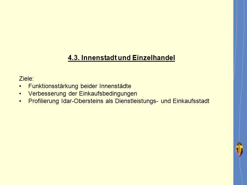 4.3. Innenstadt und Einzelhandel Ziele: Funktionsstärkung beider Innenstädte Verbesserung der Einkaufsbedingungen Profilierung Idar-Obersteins als Die
