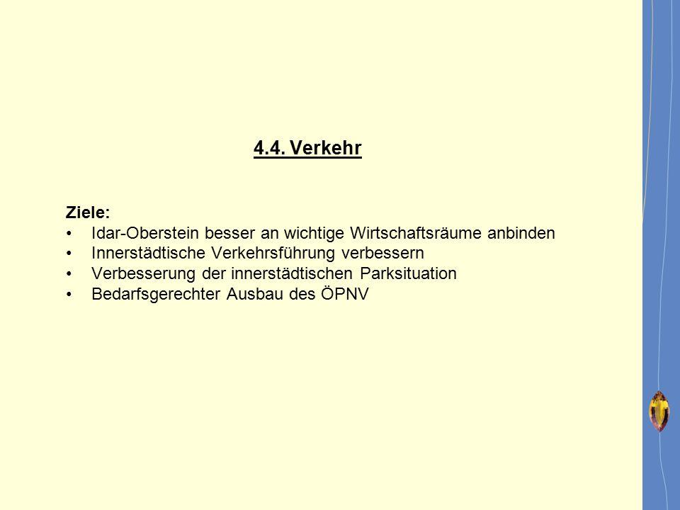 4.4. Verkehr Ziele: Idar-Oberstein besser an wichtige Wirtschaftsräume anbinden Innerstädtische Verkehrsführung verbessern Verbesserung der innerstädt
