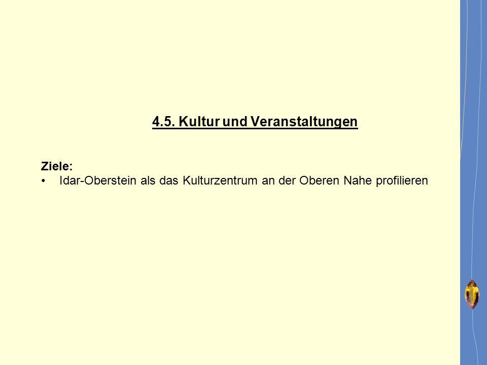 4.5. Kultur und Veranstaltungen Ziele: Idar-Oberstein als das Kulturzentrum an der Oberen Nahe profilieren