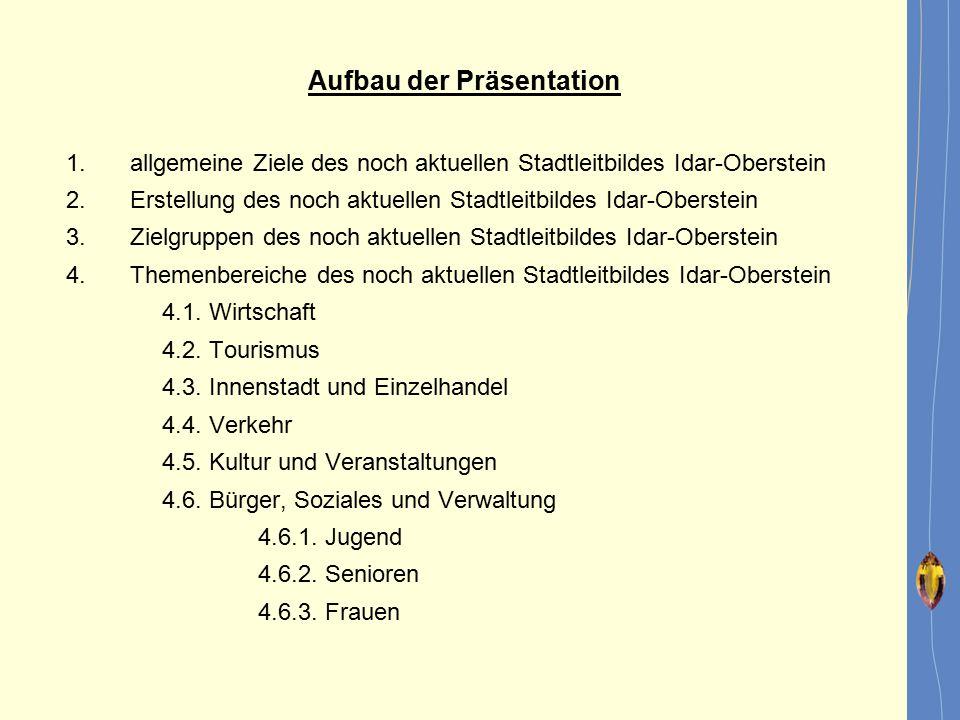 Aufbau der Präsentation 1.allgemeine Ziele des noch aktuellen Stadtleitbildes Idar-Oberstein 2.Erstellung des noch aktuellen Stadtleitbildes Idar-Ober